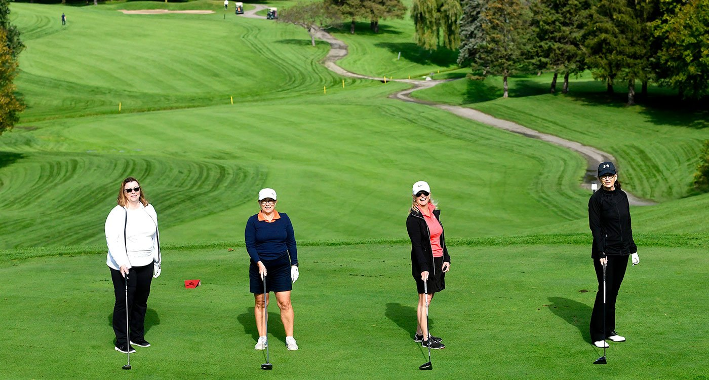 L to R: Charyl Galpin, Wendy Howe, Connie Stefankiewicz and Susan Britton Payne hit the links at the 25th annual Osler Open: Etobicoke Invitational. The tournament raised nearly $220,000 in support of Etobicoke General Hospital.