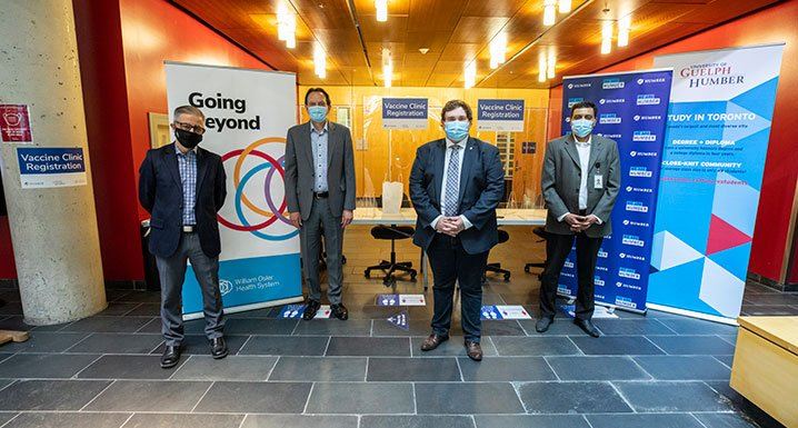 (L-R) George Bragues, Interim Vice-Provost, University of Guelph Humber, Chris Whitaker, President and CEO, Humber College, Councillor Michael Ford, Ward 1, Etobicoke North and William Osler Health System President & CEO, Naveed Mohammad.