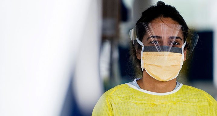 Staff member wearing personal protective equipment