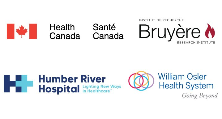 Logos for Health Canada, Bruyère Research Institute, Humber River Hospital and William Osler Health System