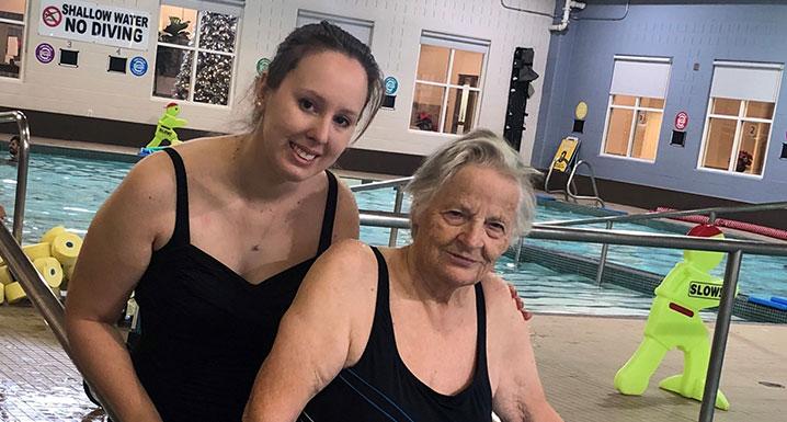 Connie Zammit, Brampton Civic rehab patient, and Amanda Kidnie, Recreation Therapist, participate in Aqua Therapy Program