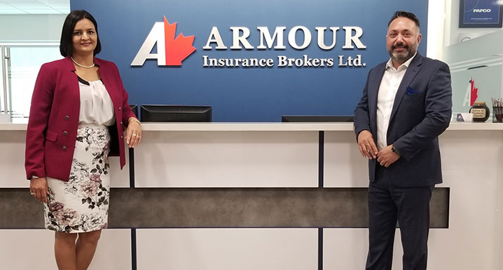 (l-r) Sukhdeep Kang, CEO, Armour Insurance Brokers Ltd. and Rupinder Hayer, President, Armour Insurance Brokers Ltd.