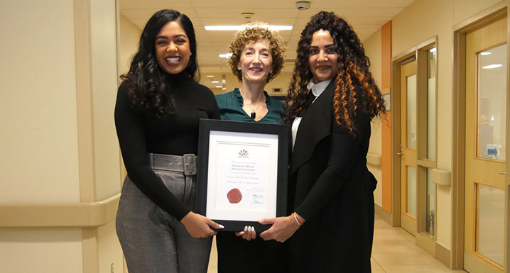 (l-r) Marilyn Verghis, Health Equity and Inclusion Specialist, Mary Jane McNally, Chief Patient Experience Officer and Gurwinder Gill, Director of Health Equity are members of Osler's Health Equity Team