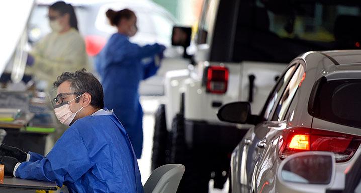 Staff working the Etobicoke drive-thru assessment centre