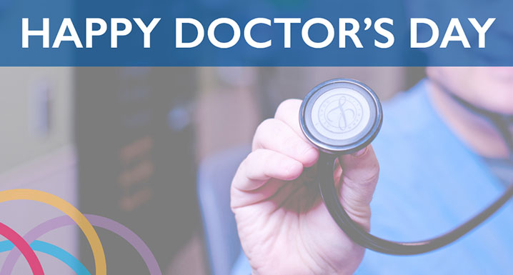 Happy Doctor's Day graphic with a physician holding a stethoscope