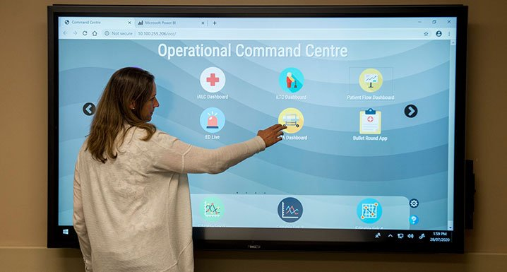 Staff member using the Operational Command Centre electronic dashboard