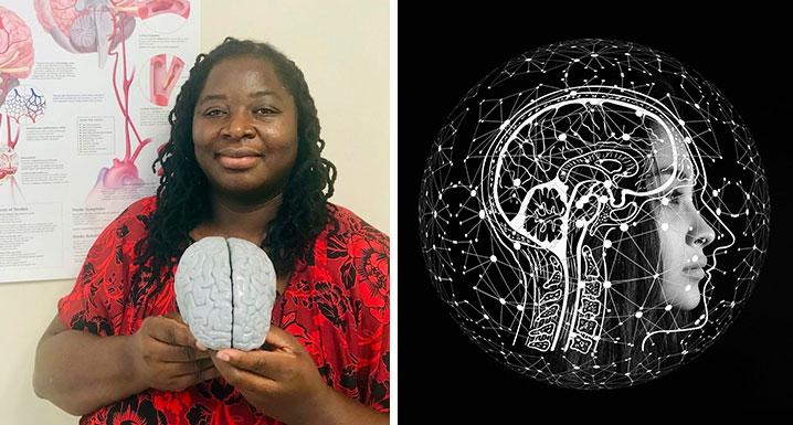 Angella Dacres, Nurse Practitioner, Neurology Unit, holds a model of a brain