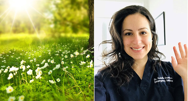 On the left, a sunny field and on the right, Dr. Isabelle Imamedjian, an Emergency Medicine Physician at Osler