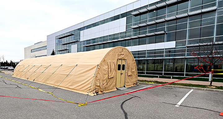 Temporary Emergency Department tent in the parking lot at Brampton Civic Hospital