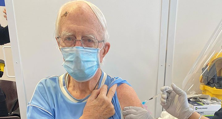Brampton resident, Ken Cuthbert receives his first dose of the Pfizer-BioNTech at Osler's COVID- 19 Vaccine Clinic